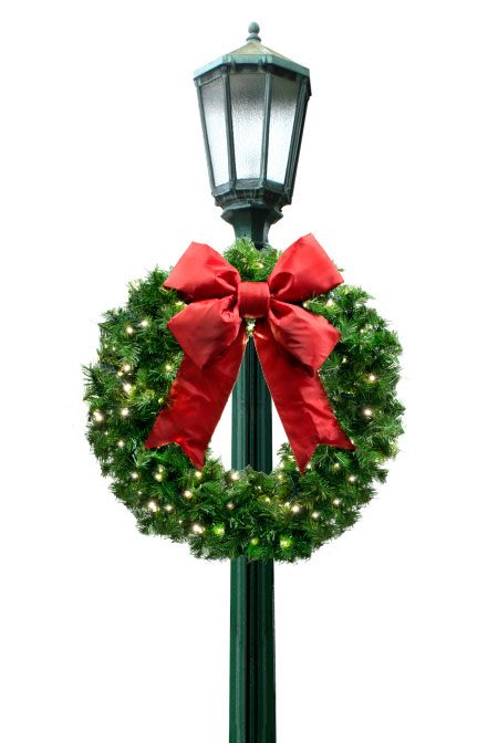 Wreath Light Pole Christmas Decorations