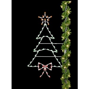 christmas tree silhouette pole mount decoration - Light Pole Christmas Decorations