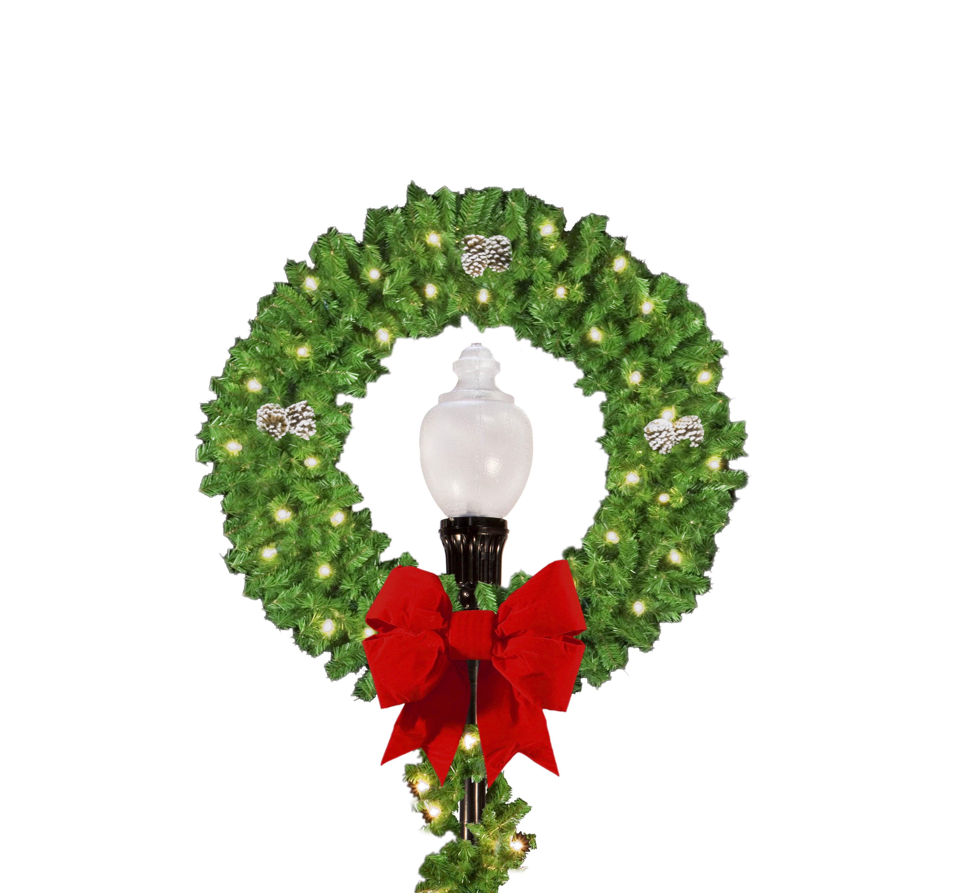 Post over light pole decoration wreath