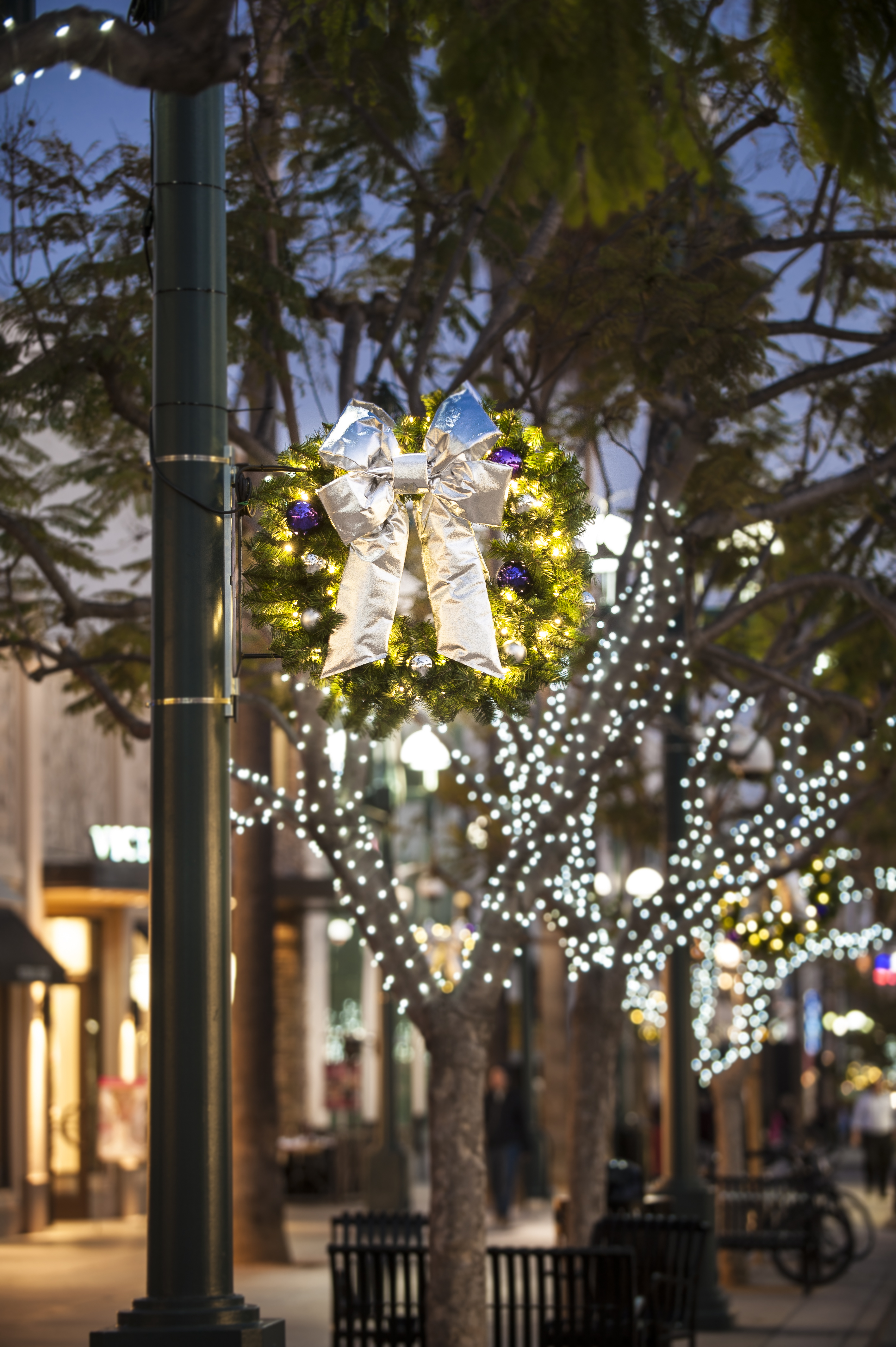 Side Pole Mount Wreaths - Downtown Decorations