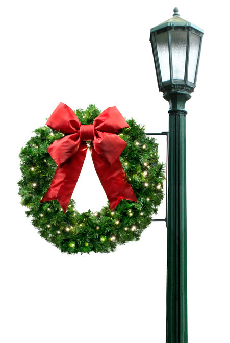 side mount wreath pole decoration - Christmas Pole Decorations