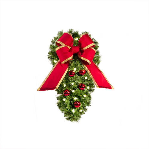 pine spray light pole decoration - Christmas Column Decorations